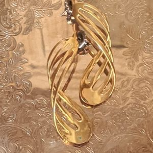Vintage Gold Toned Spiral Stud Drop Earrings